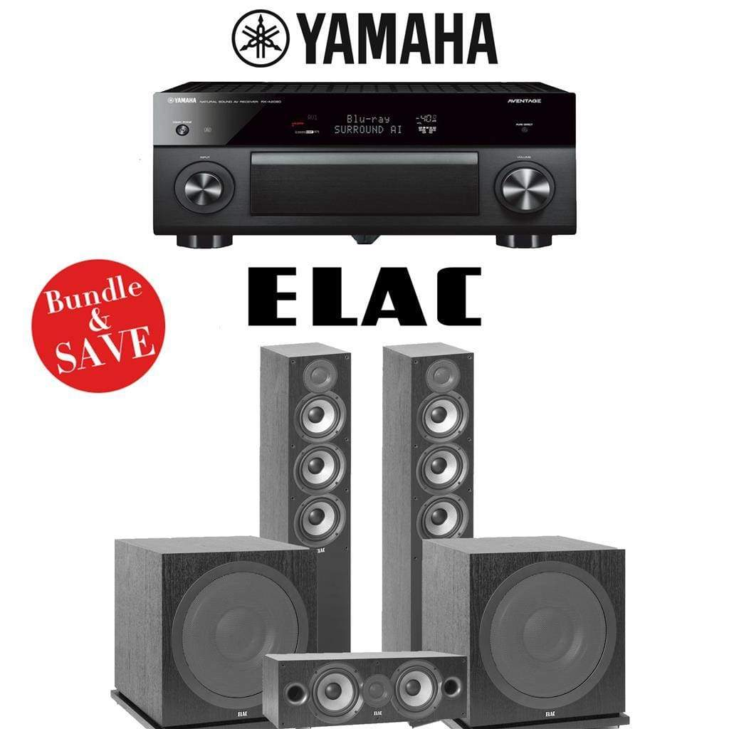 Elac F5.2 Debut 2.0 3.2-Ch Home Theater Speaker System with Yamaha AVENTAGE RX-A2080 9.2-Channel 4K Network AV Receiver - Stereo Advantage
