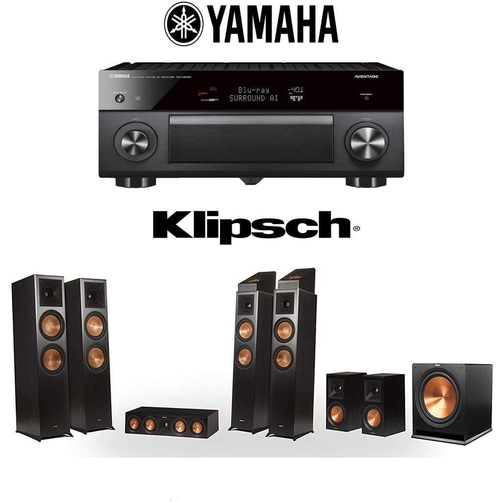Klipsch RP-8060FA 7.1.4 Dolby Atmos Home Theater System with Yamaha AVENTAGE RX-A2080 9.2-Channel 4K Home Theater AV Receiver - Stereo Advantage