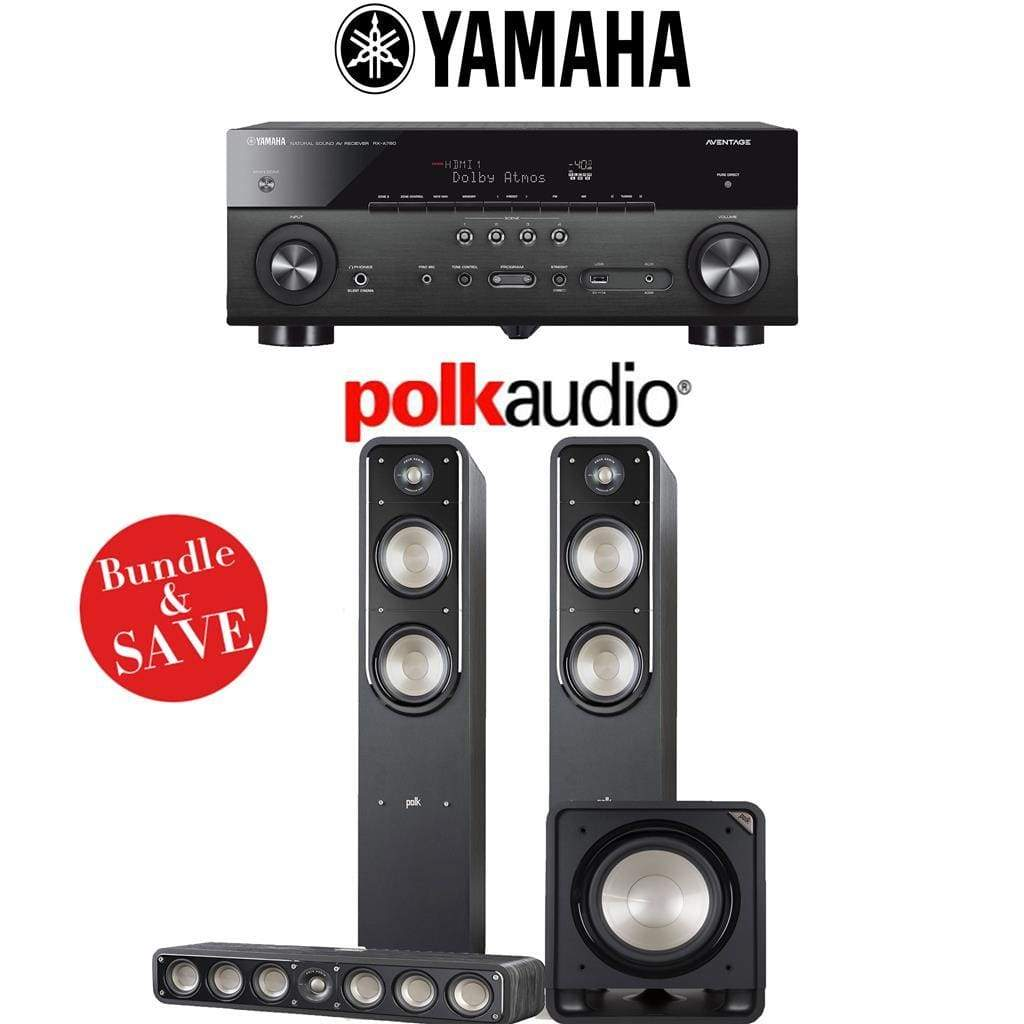 Polk Audio Signature S55 3.1-Ch Home Theater Speaker System with Yamaha RX-A780 AVENTAGE 7.2-Channel 4K Network A/V Receiver - Stereo Advantage