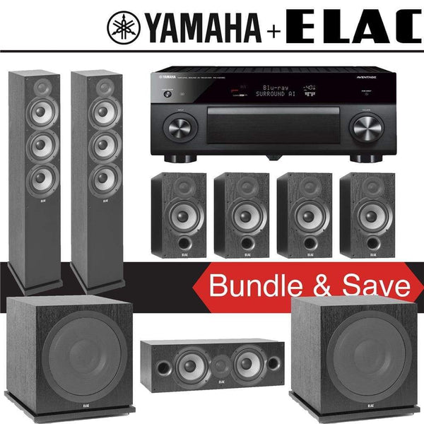 Elac F6.2 Debut 2.0 7.2-Ch Home Theater System with Yamaha AVENTAGE RX-A2080 9.2-Channel 4K Network AV Receiver