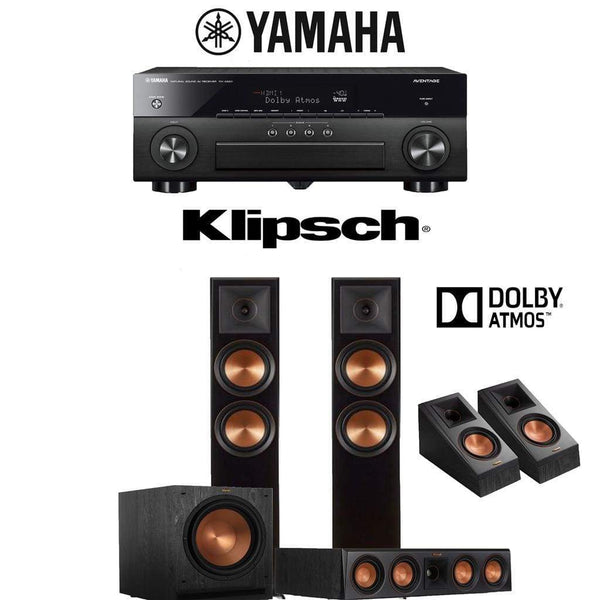 Klipsch RP-6000F 3.1.2-Ch Reference Premiere Dolby Atmos Home Theater Speaker System with Yamaha AVENTAGE RX-A880 7.2-Channel 4K Network ...