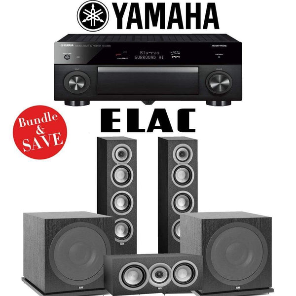 Elac Uni-Fi UF5 3.2-Ch Home Theater Speaker System with Yamaha AVENTAGE RX-A1080 7.2-Channel 4K Network A/V Receiver