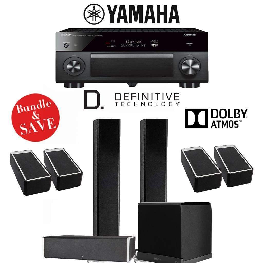Definitive Technology BP9060 3.1.4-Ch High Performance Dolby Atmos Home Theater Speaker System with Yamaha AVENTAGE RX-A2080 9.2-Ch 4K Ne... - Stereo Advantage