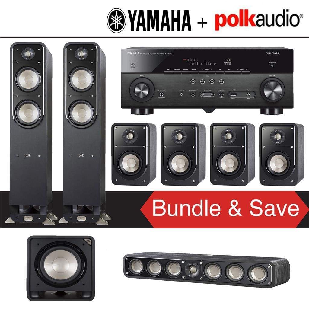 Polk Audio Signature S55 7.1-Ch Home Theater Speaker System with Yamaha RX-A780 AVENTAGE 7.2-Channel 4K Network A/V Receiver - Stereo Advantage