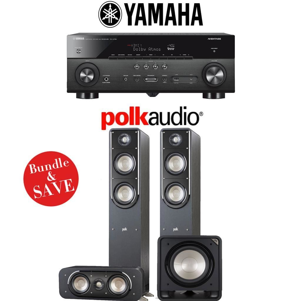 Yamaha RX-A780 AVENTAGE 7.2-Channel AV Receiver + Polk Audio S50 + Polk Audio S30 + Polk Audio HTS12-3.1-Ch Home Theater Package - Stereo Advantage