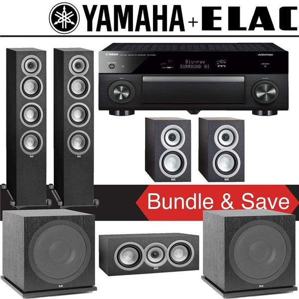 Elac Uni-Fi UF5 5.2-Ch Home Theater Speaker System with Yamaha AVENTAGE RX-A1080 7.2-Channel 4K Network A/V Receiver