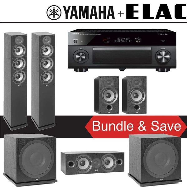 Elac F5.2 Debut 2.0 5.2-Ch Home Theater Speaker System with Yamaha AVENTAGE RX-A2080 9.2-Channel 4K Network AV Receiver