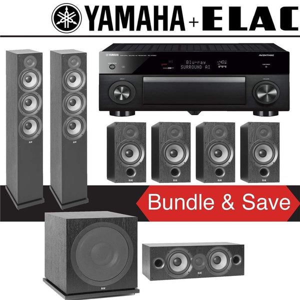 Elac F6.2 Debut 2.0 7.1-Ch Home Theater Speaker System with Yamaha AVENTAGE RX-A1080 7.2-Channel 4K Network AV Receiver