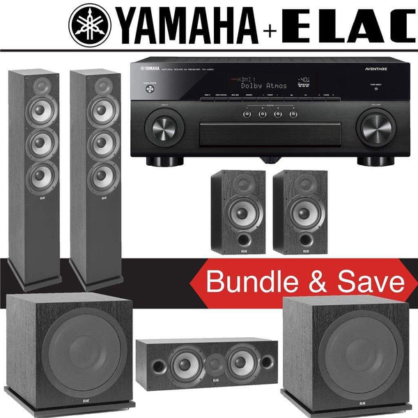 Elac F6.2 Debut 2.0 5.2-Ch Home Theater System with Yamaha AVENTAGE RX-A880 7.2-Channel 4K Networking AV Receiver