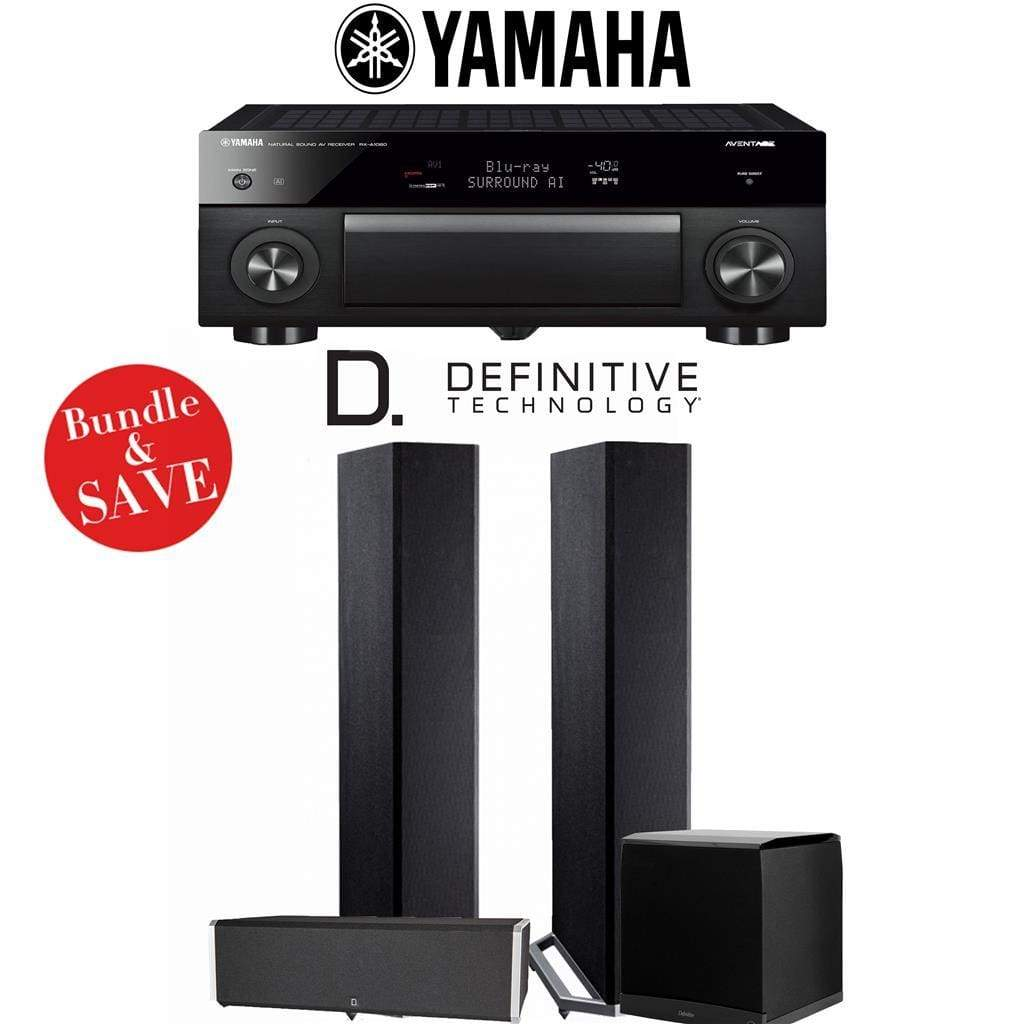 Definitive Technology BP9020 3.1-Ch High Performance Home Theater System with Yamaha AVENTAGE RX-A1080 7.2-Channel 4K Network A/V Receiver - Stereo Advantage