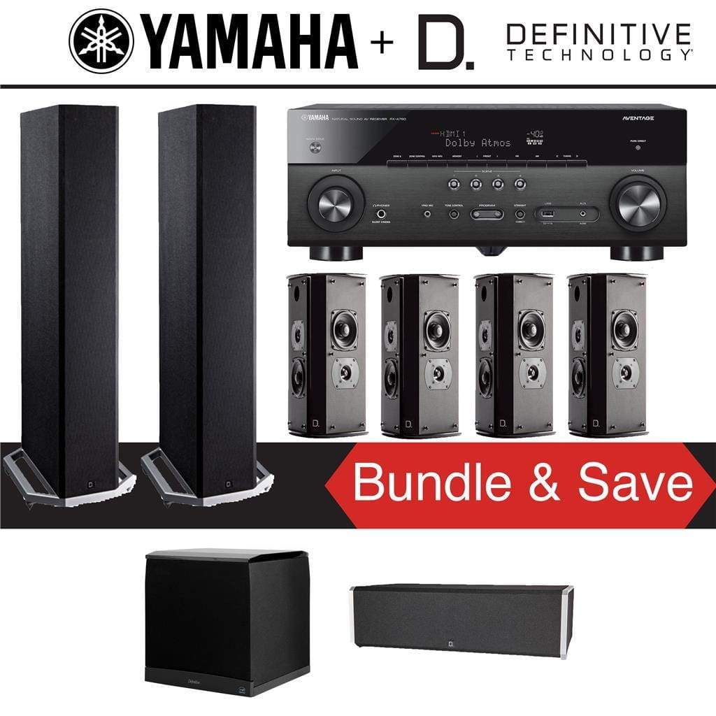 Definitive Technology BP9020 7.1-Ch High Performance Home Theater Speaker System with Yamaha RX-A780 AVENTAGE 7.2-Ch 4K Network A/V Recei... - Stereo Advantage