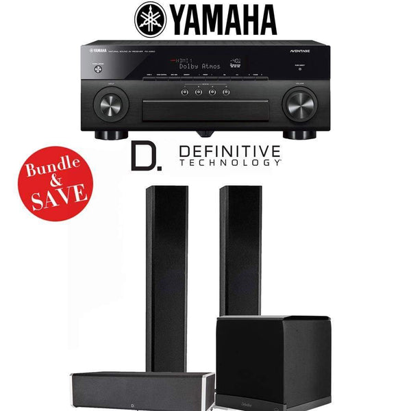 Definitive Technology BP9060 3.1-Ch High Performance Home Theater Speaker System with Yamaha AVENTAGE RX-A880BL 7.2-Ch 4K Network A/V Rec...