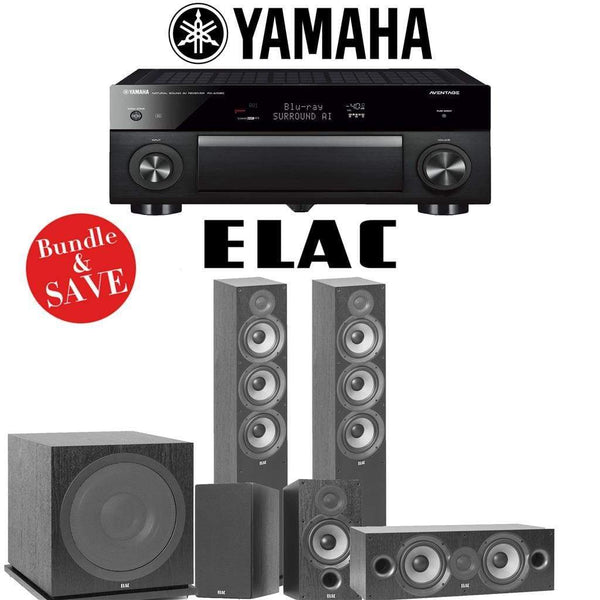 Elac F6.2 Debut 2.0 5.1-Ch Home Theater Speaker System with Yamaha AVENTAGE RX-A1080 7.2-Channel 4K Network AV Receiver