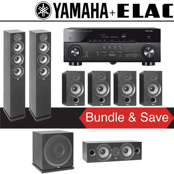 Elac F5.2 Debut 2.0 7.1-Ch Home Theater Speaker System with Yamaha RX-A780 7.2-Channel 4K Network A/V Receiver