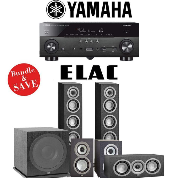 Elac Uni-Fi UF5 5.1-Ch Home Theater Speaker System with Yamaha AVENTAGE RX-A780 7.2-Channel 4K Network A/V Receiver