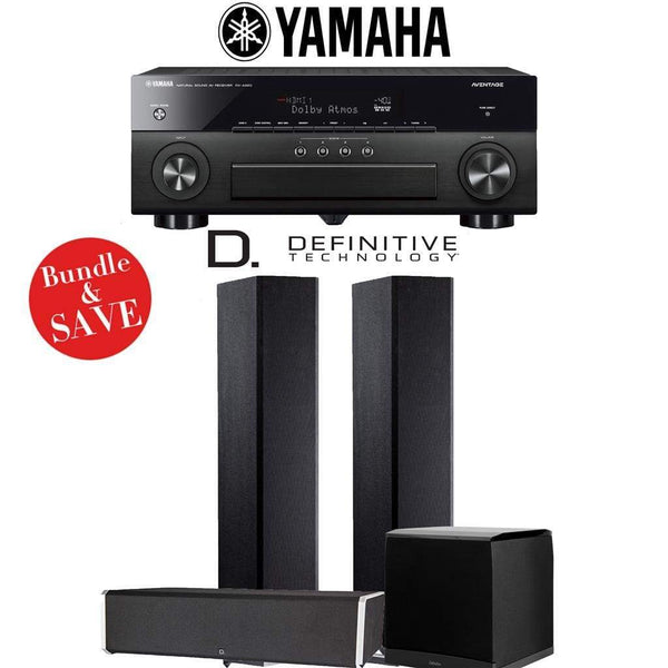 Definitive Technology BP9020 3.1-Ch High Performance Home Theater Speaker System with Yamaha AVENTAGE RX-A880BL 7.2-Ch 4K Network A/V Rec...