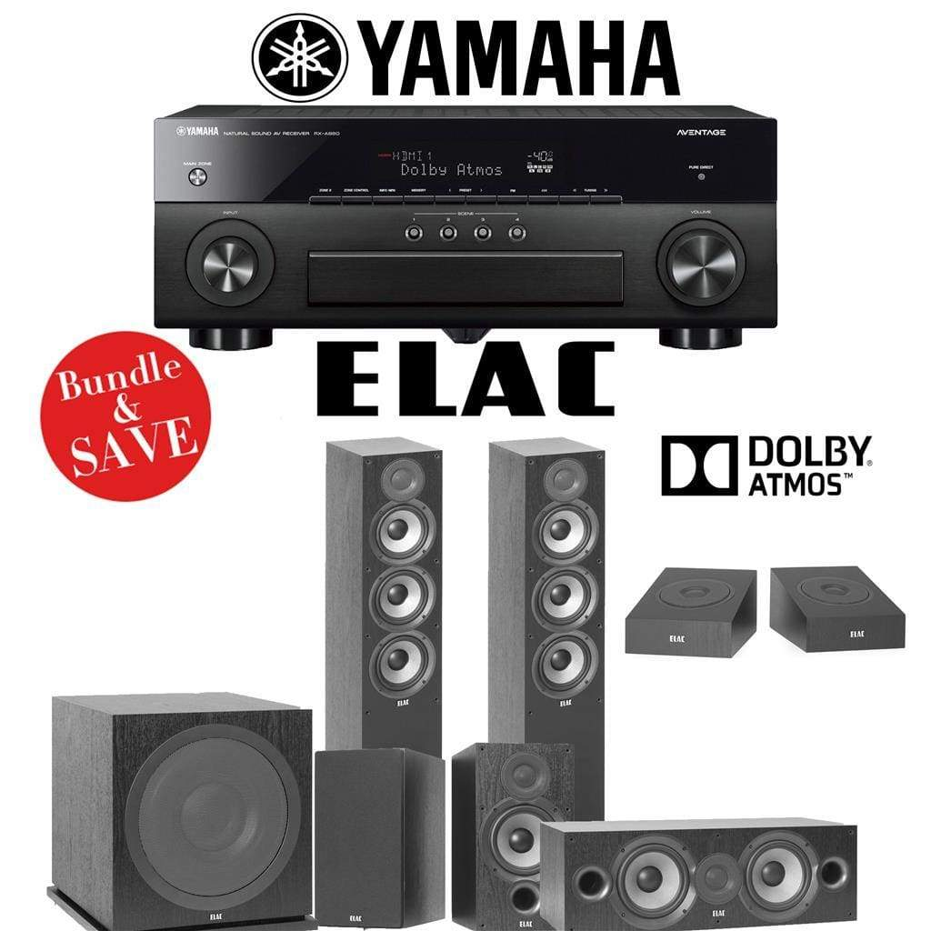 Elac F5.2 Debut 2.0 5.1.2-Ch Dolby Atmos Home Theater Speaker System With Yamaha Aventage Rx-A880 7.2-Channel 4K Network Av Receiver |