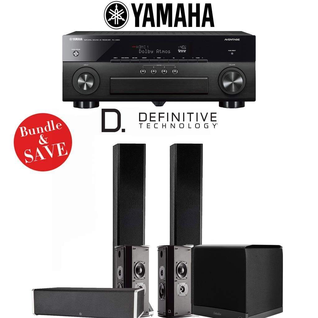 Definitive Technology BP9060 5.1-Ch High Performance Home Theater Speaker System with Yamaha AVENTAGE RX-A880BL 7.2-Ch 4K Network A/V Rec... - Stereo Advantage