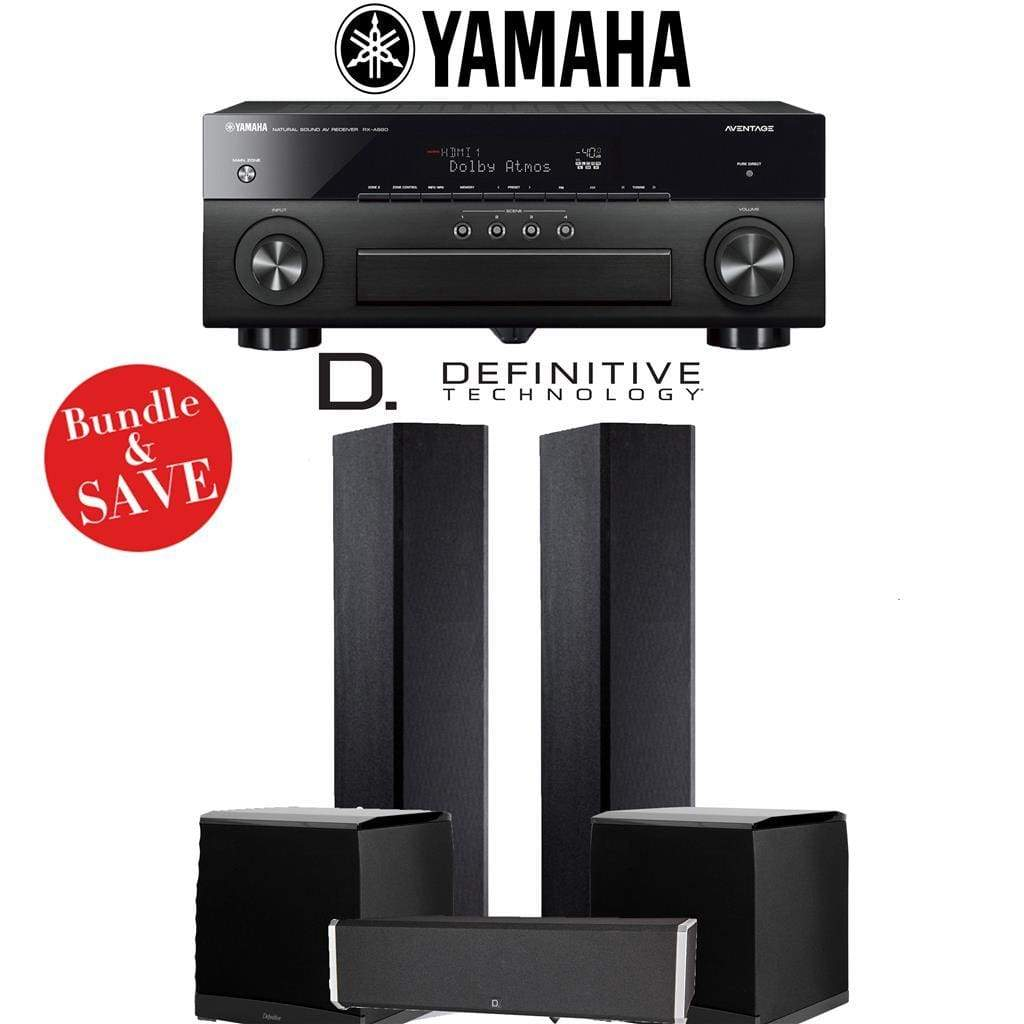 Definitive Technology BP9020 3.2-Ch High Performance Home Theater Speaker System with Yamaha AVENTAGE RX-A880BL 7.2-Ch 4K Network A/V Rec... - Stereo Advantage