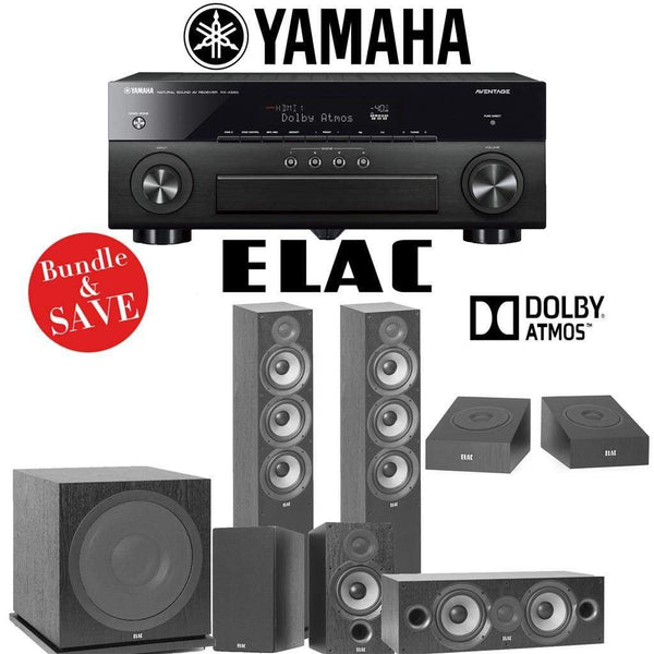 Elac F6.2 Debut 2.0 5.1.2-Ch Dolby Atmos Home Theater System with Yamaha AVENTAGE RX-A880 7.2-Channel 4K Networking AV Receiver
