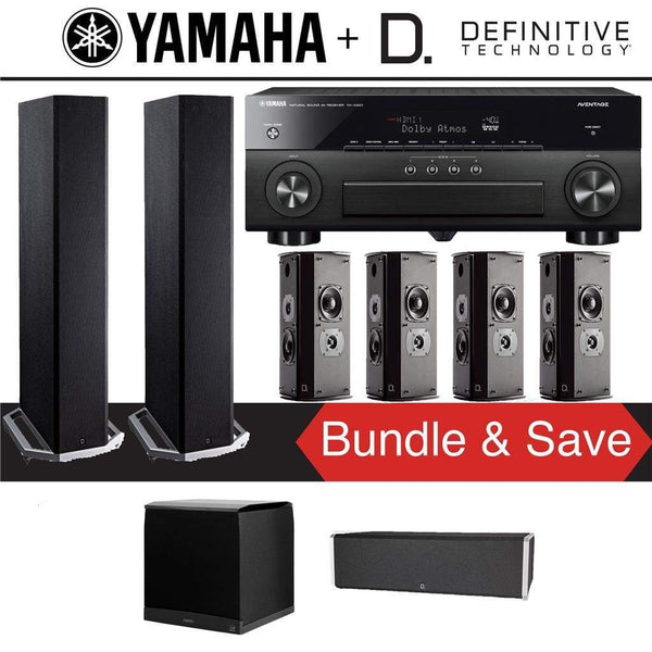 Definitive Technology BP9020 7.1-Ch High Performance Home Theater Speaker System with Yamaha AVENTAGE RX-A880BL 7.2-Ch 4K Network A/V Rec...