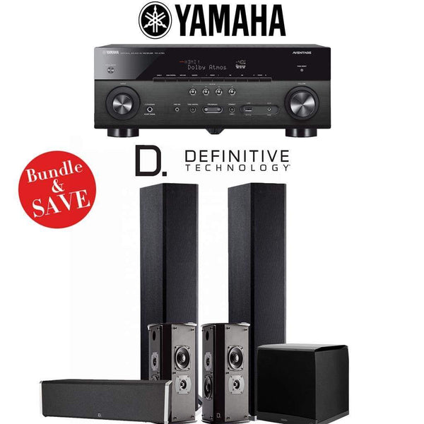 Definitive Technology BP9020 5.1-Ch High Performance Home Theater Speaker System with Yamaha RX-A780 AVENTAGE 7.2-Ch 4K Network A/V Recei...