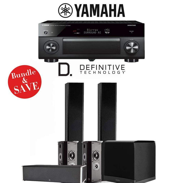 Definitive Technology BP9060 5.1-Ch High Performance Home Theater Speaker System with Yamaha AVENTAGE RX-A2080 9.2-Ch 4K Network A/V Rece...