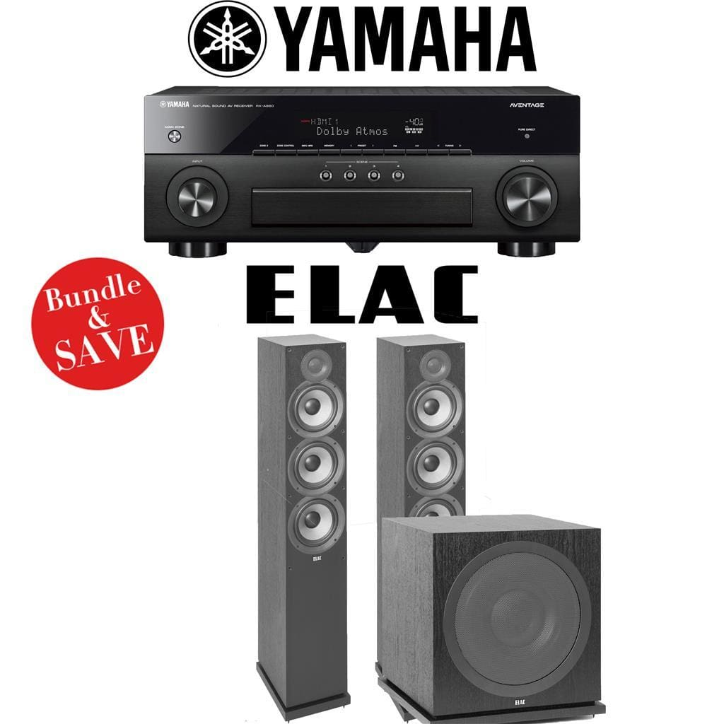 Yamaha AVENTAGE RX-A880 7.2-Ch 4K Network A/V Receiver + Elac F6.2 + Elac Sub3030-2.1-Ch Home Theater Package - Stereo Advantage