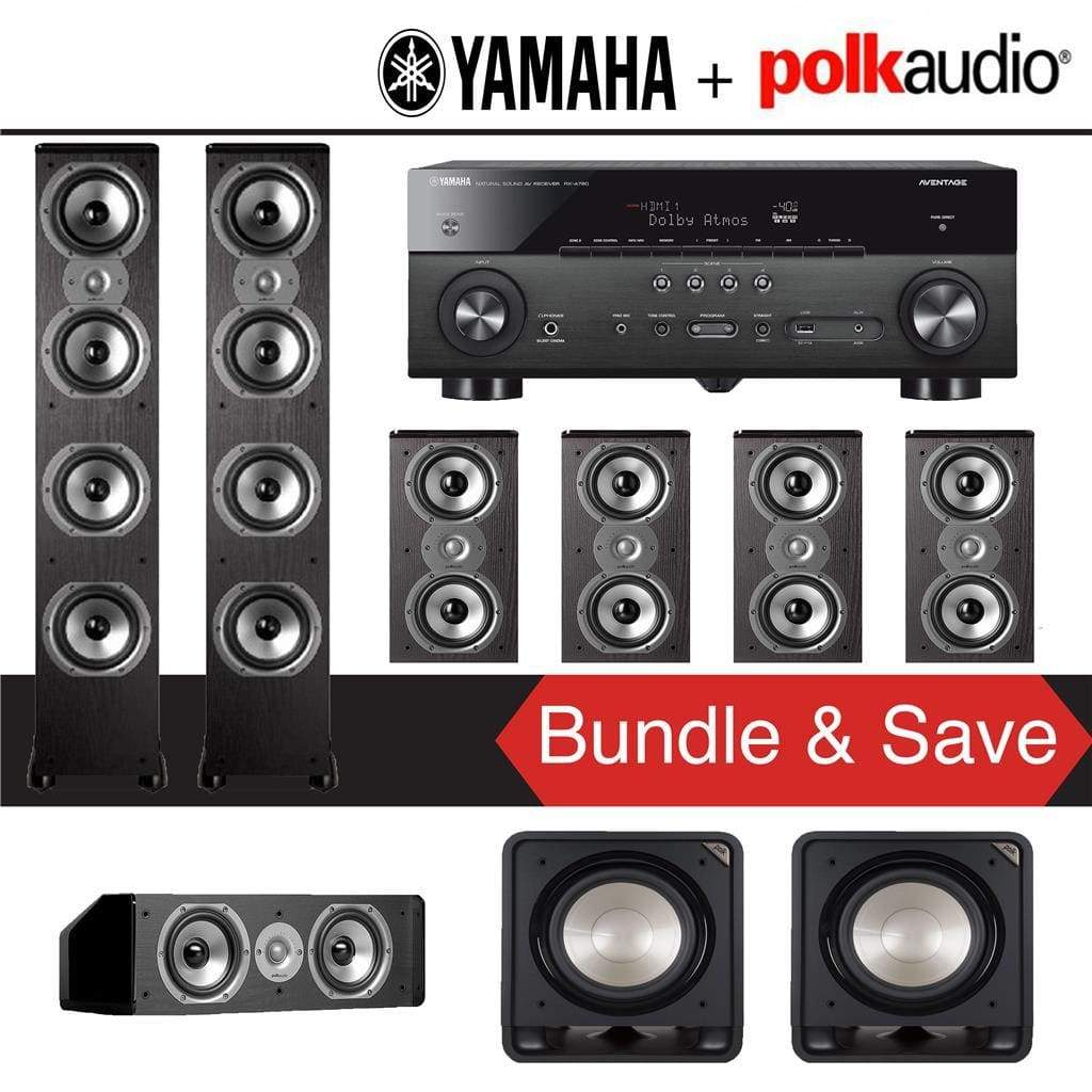 Polk Audio TSi 500 7.1-Ch Home Theater Speaker System with Yamaha AVENTAGE RX-A780 7.2-Channel 4K Network A/V Receiver - Stereo Advantage