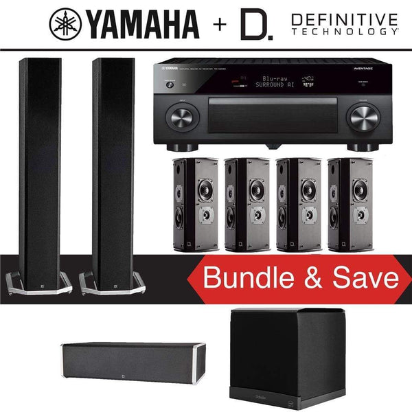 Definitive Technology BP9060 7.1-Ch High Performance Dolby Atmos Home Theater Speaker System with Yamaha AVENTAGE RX-A2080 9.2-Ch 4K Netw...