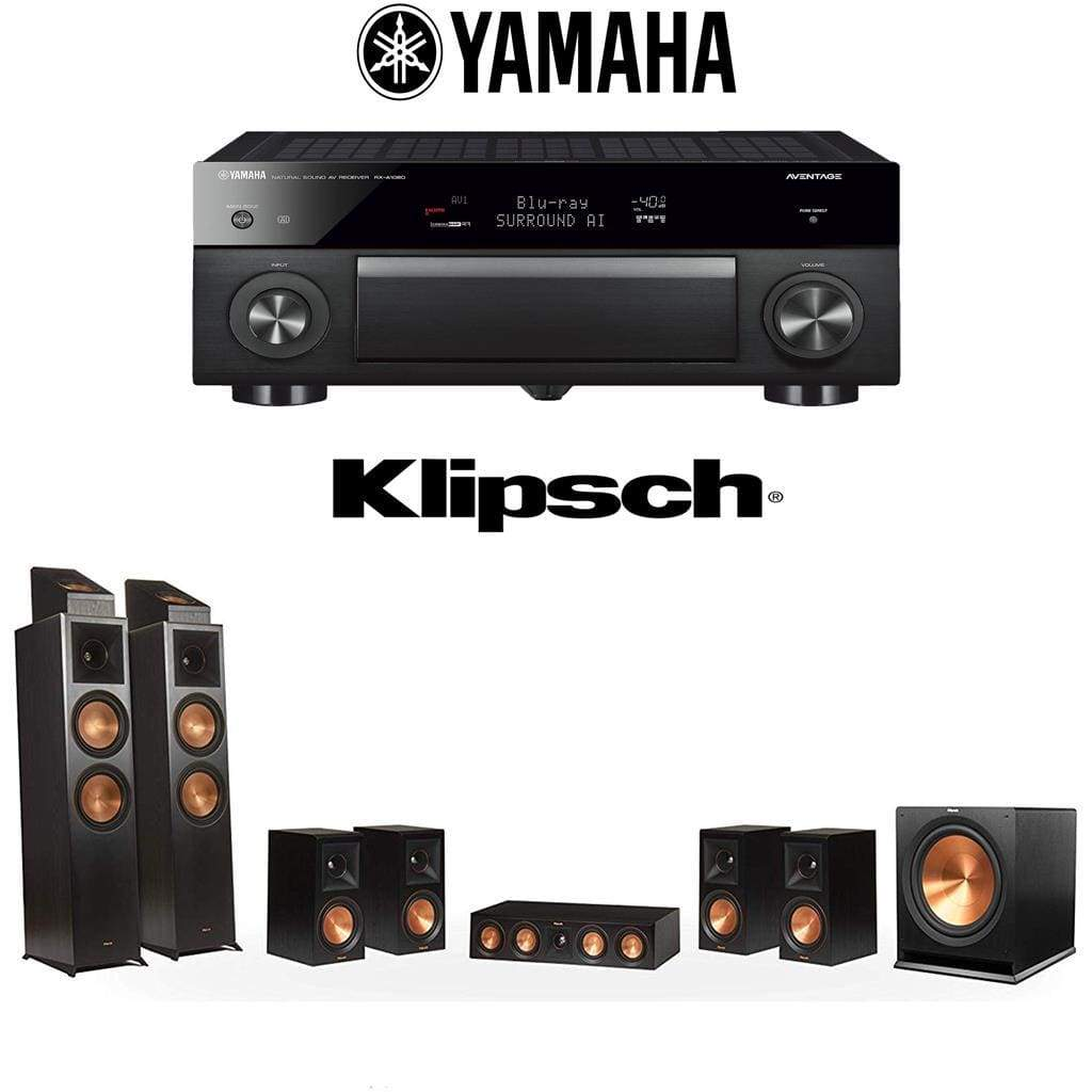 Klipsch RP-8000F 7 1 2 Dolby Atmos Home Theater System with Yamaha AVENTAGE  RX-A1080 7 2-Channel 4K Home Theater AV Receiver