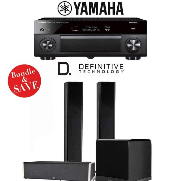 Definitive Technology BP9060 3.1-Ch High Performance Home Theater Speaker System with Yamaha AVENTAGE RX-A3080 9.2-Ch 4K Network A/V Rece...