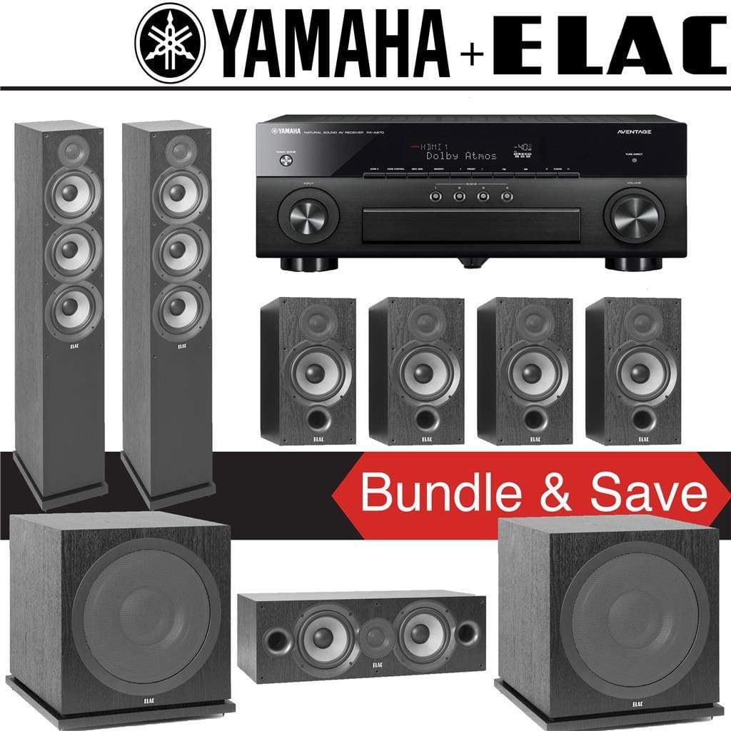 Elac F6.2 Debut 2.0 7.2-Ch Home Theater Speaker System with Yamah RX-A780 7.2-Channel 4K Network A/V Receiver - Stereo Advantage