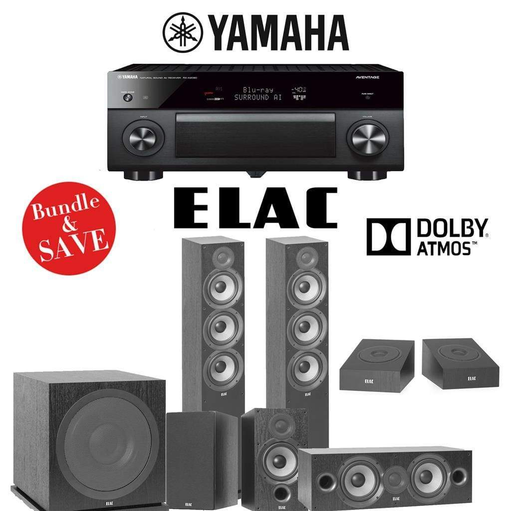 Elac F6.2 Debut 2.0 5.1.2-Ch Dolby Atmos Home Theater System with Yamaha AVENTAGE RX-A2080 9.2-Channel 4K Network AV Receiver - Stereo Advantage