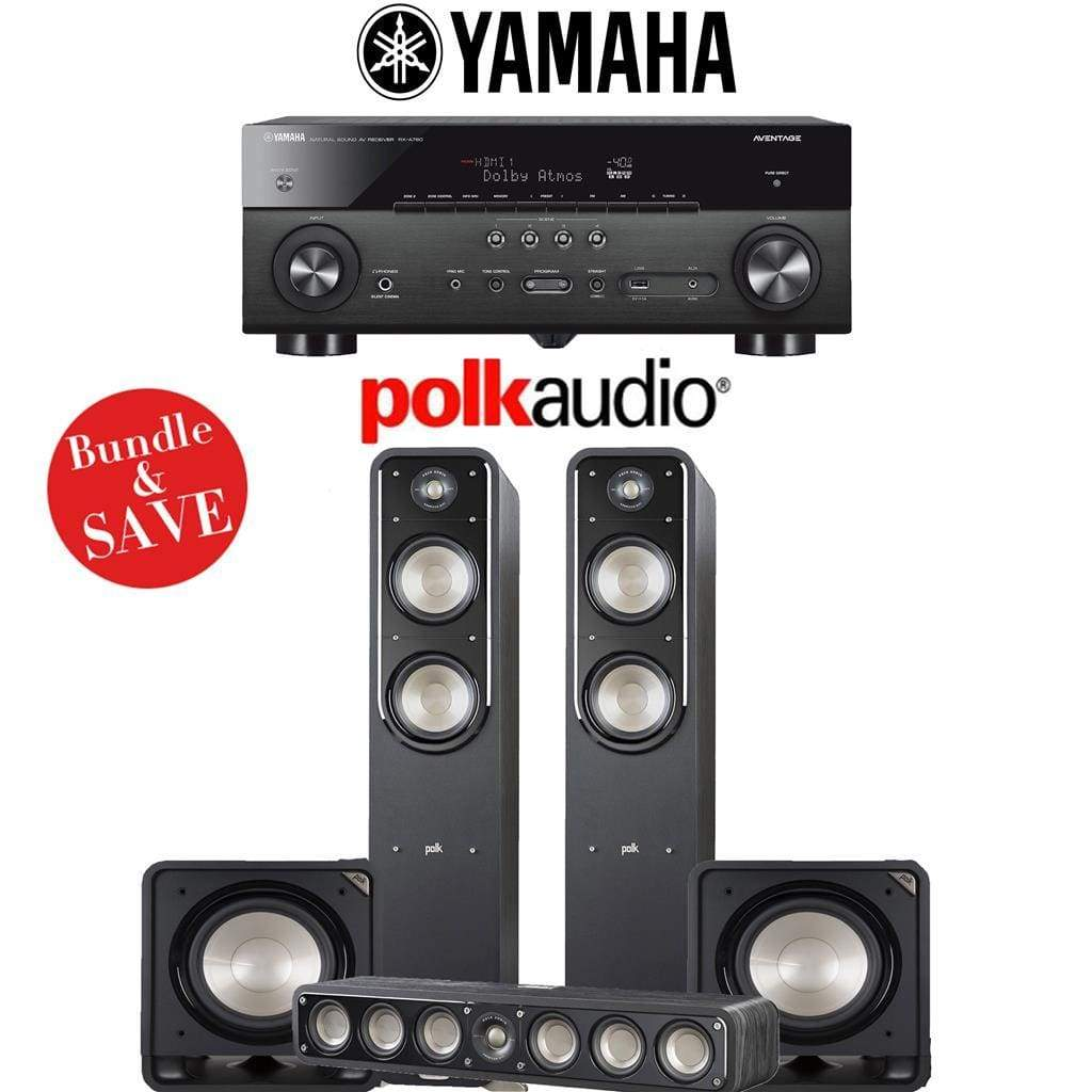 Polk Audio Signature S55 3.2-Ch Home Theater Speaker System with Yamaha RX-A780 AVENTAGE 7.2-Channel 4K Network A/V Receiver - Stereo Advantage