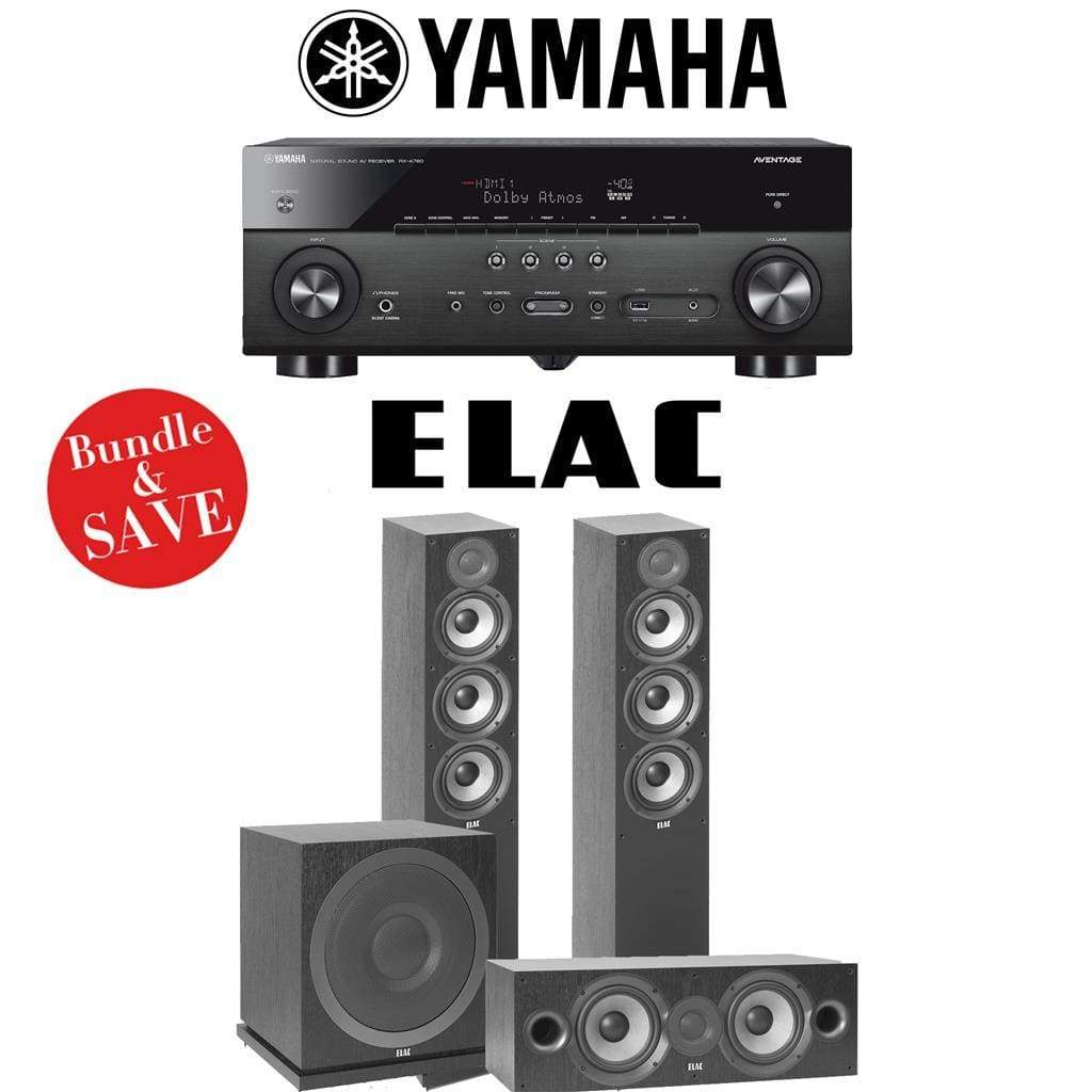 Elac F5.2 Debut 2.0 3.1-Ch Home Theater Speaker System with Yamaha RX-A780 7.2-Channel 4K Network A/V Receiver - Stereo Advantage