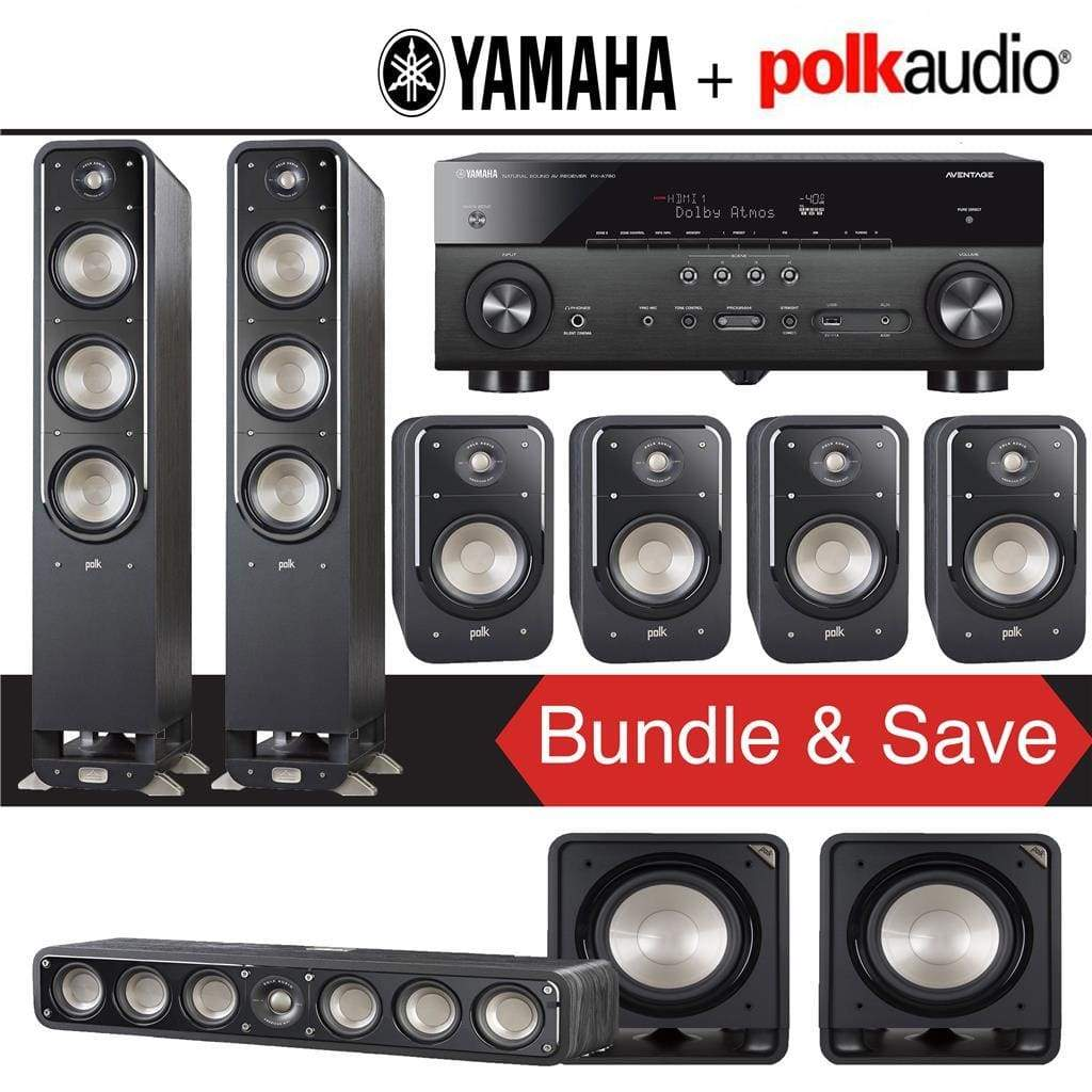 Polk Audio Signature S60 7.2-Ch Home Theater Speaker System with Yamaha RX-A780 AVENTAGE 7.2-Channel 4K Network A/V Receiver - Stereo Advantage