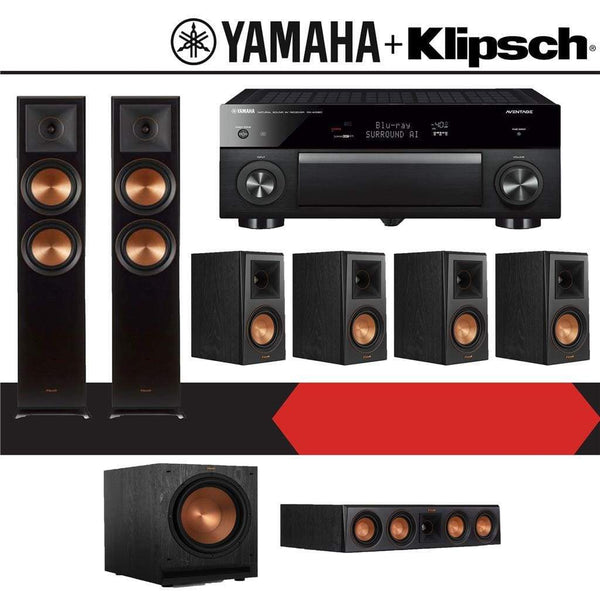 Klipsch RP-5000F 7.1-Ch Reference Premiere Home Theater System with Yamaha AVENTAGE RX-A1080 7.2-Channel 4K Ultra HD Networking AV Receiver