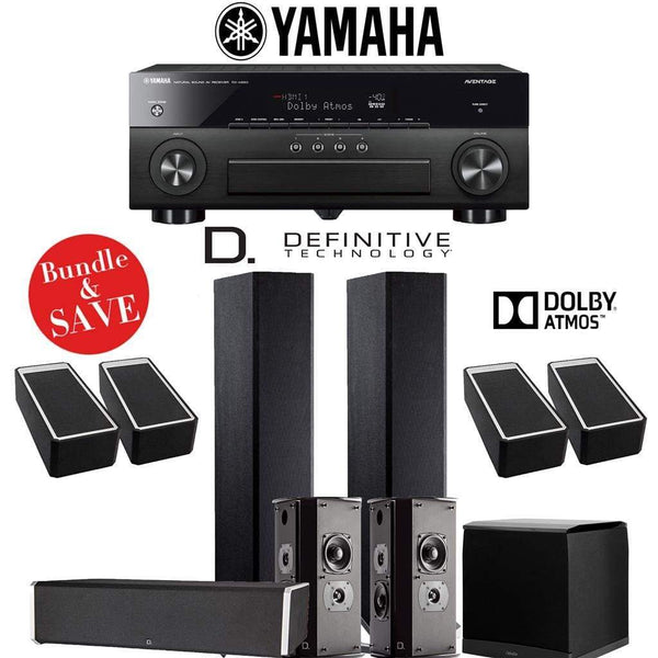 Definitive Technology BP9020 5.1.4-Ch Dolby Atmos High Performance Home Theater Speaker System with Yamaha AVENTAGE RX-A880BL 7.2-Ch 4K N...