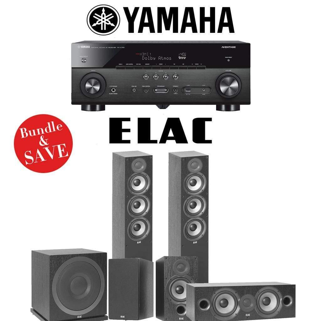 Elac F5.2 Debut 2.0 5.1-Ch Home Theater Speaker System with Yamaha RX-A780 7.2-Channel 4K Network A/V Receiver - Stereo Advantage