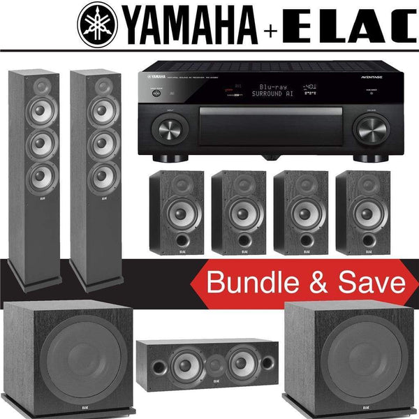 Elac F6.2 Debut 2.0 7.2-Ch Home Theater Speaker System with Yamaha AVENTAGE RX-A1080 7.2-Channel 4K Network AV Receiver