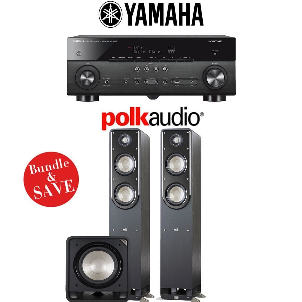 Yamaha RX-A780 AVENTAGE 7.2-Channel AV Receiver + Polk Audio S50 + Polk Audio HTS12-2.1-Ch Home Theater Package - Stereo Advantage