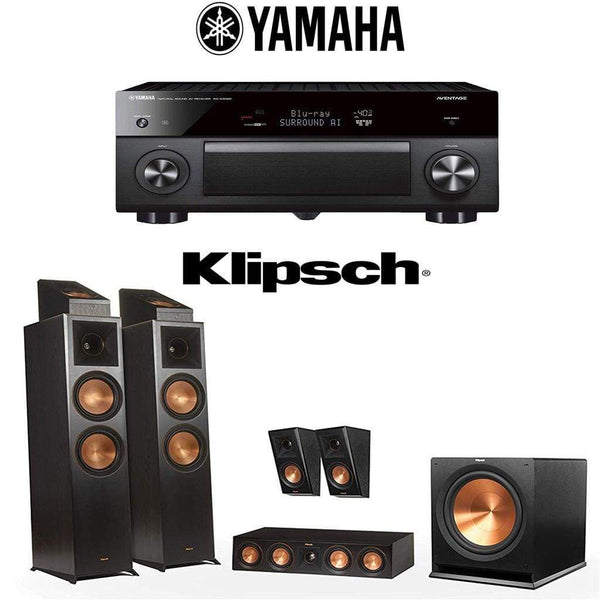 Klipsch Reference Premiere RP-8000F 5.1.2 Dolby Atmos Home Theater System with Yamaha AVENTAGE RX-A3080 9.2-Channel 4K Home Theater AV Re...