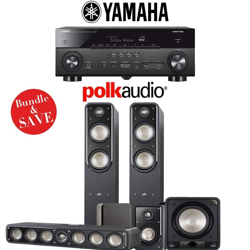 Polk Audio Signature S55 5.1-Ch Home Theater Speaker System with Yamaha RX-A780 AVENTAGE 7.2-Channel 4K Network A/V Receiver - Stereo Advantage