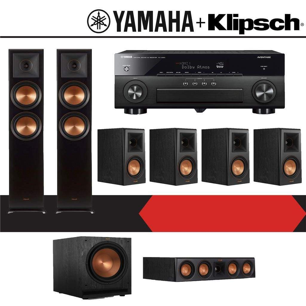 Klipsch RP-6000F 7 1-Ch Reference Premiere Home Theater Speaker System  (RP-22110020-Ebony) with Yamaha AVENTAGE RX-A880 7 2-Channel 4K Ne