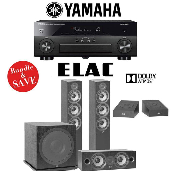 Elac F6.2 Debut 2.0 3.1.2-Ch Dolby Atmos Home Theater System with Yamaha AVENTAGE RX-A880 7.2-Channel 4K Networking AV Receiver