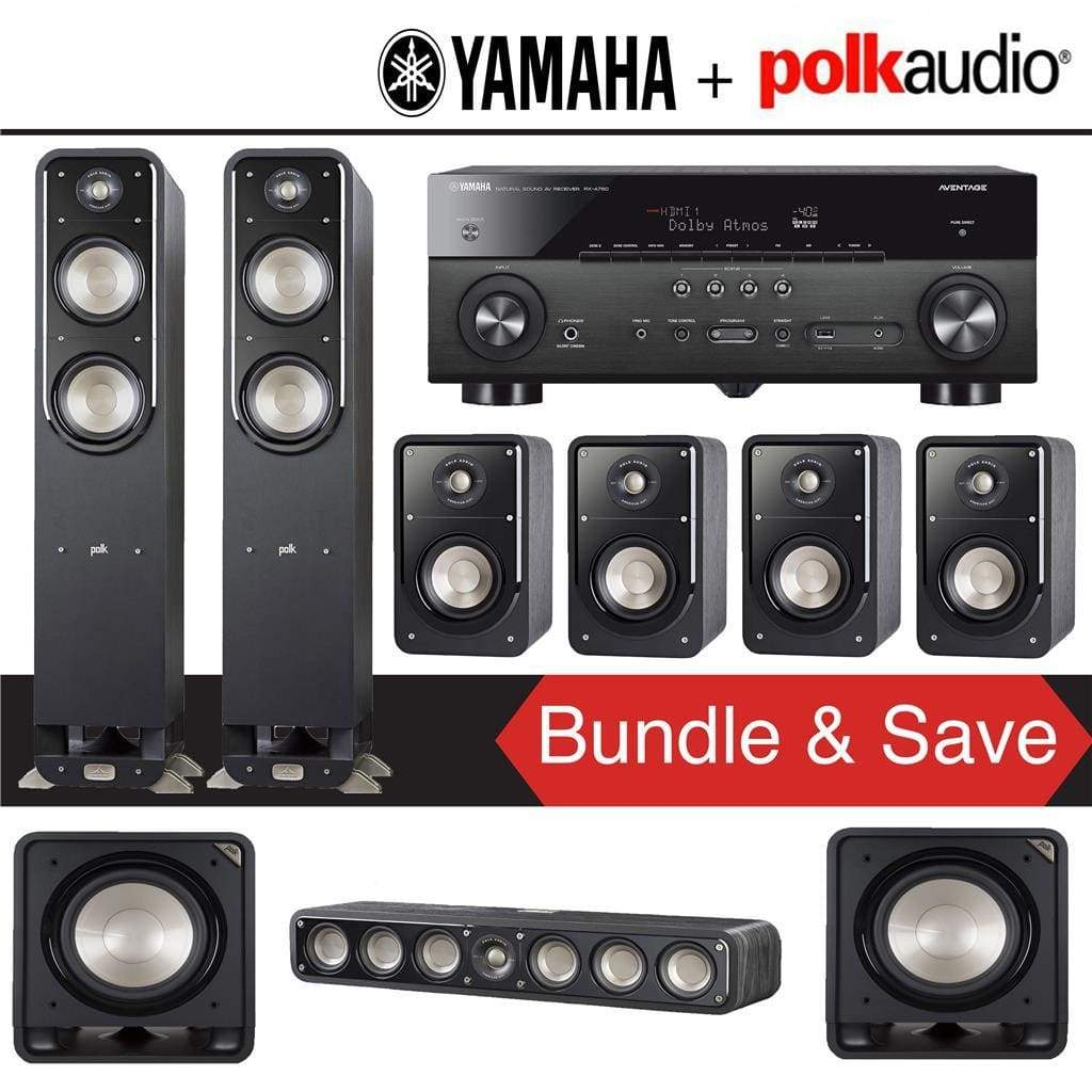 Polk Audio Signature S55 7.2-Ch Home Theater Speaker System with Yamaha RX-A780 AVENTAGE 7.2-Channel 4K Network A/V Receiver - Stereo Advantage