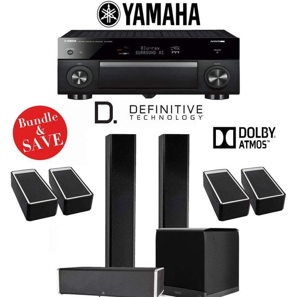 Definitive Technology BP9060 3.1.4-Ch Dolby Atmos High Performance Home Theater Speaker System with Yamaha AVENTAGE RX-A1080 7.2-Ch 4K Ne...