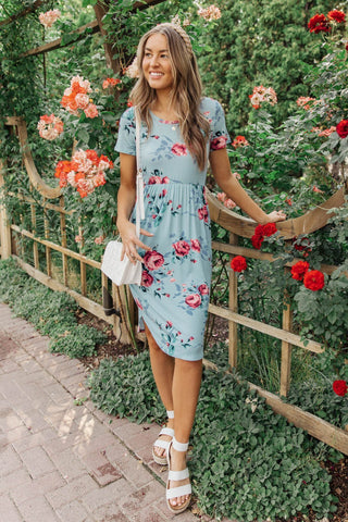 Clair Floral Dress In Blue
