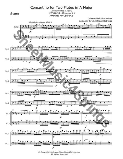 Molter J. - Concertino In A Major Mwv 10.33 Mvt. 1 (Cello Duo) Duos
